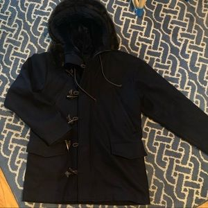 Klurk men's wool toggle coat warm with fur hood